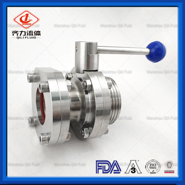 Sanitary Butterfly Valves Thread Sight Glass End With Manual Handle
