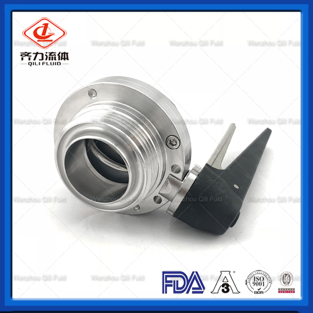 SS304/316L Stainless Steel Sanitary Thread Butterfly Valve with Plactic Handle