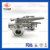 Sanitary Stainless Steel Tee Type Three Way Butterfly Valve with Handle Connect