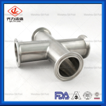Sanitary stainless steel tri clamp fittings 4 Way Cross