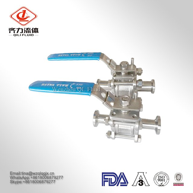 304/316L High Quality Stainless Steel 3PCS Ball Valves with Blue Handle