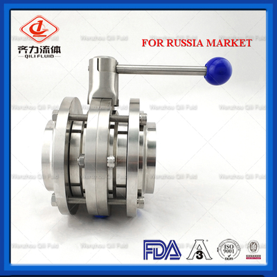 Sanitary Stainless Steel Three Piece Butt Welded Butterfly Valve