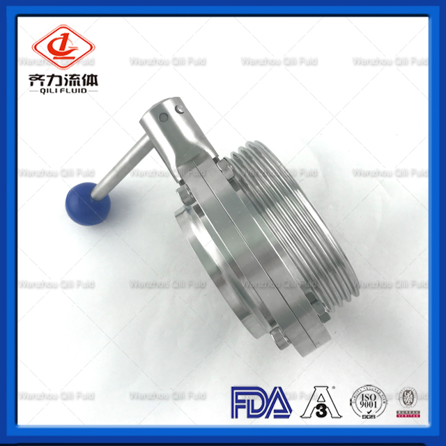 Hygienic Manual Stainless Steel Thread Welded Butterfly Valve