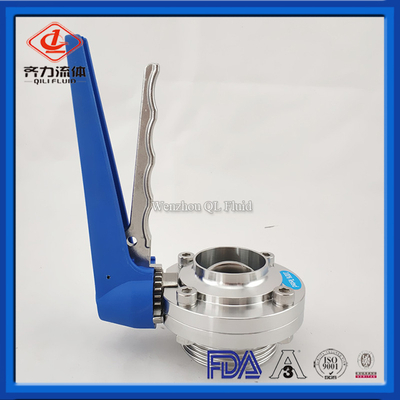 Stainless Steel Food Grade Threaded/male & Welding Butterfly Valve with Gripper Handle