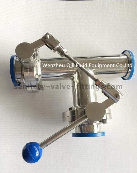 Sanitary Stainless Steel Three Way Thread Clamp Weld Butterfly Valve with One Pulling Handle