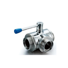 Sanitary 304 Stainless Steel Male Threaded Three Way Ball Valve